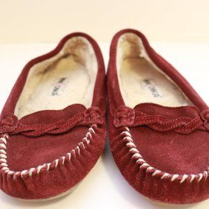 Minnetonka Red Suede Lined Moccasin Loafer